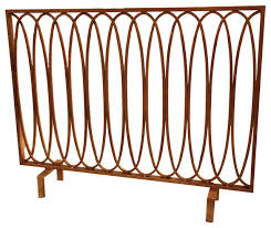 oval loop fire screen antique gold fireplace screens