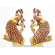 lot 2 hand carved wood art intarsia couple peacock sign wall plaque bird decor