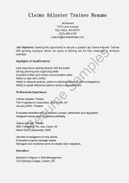 Sample Cover Letter Claims Adjuster Trainee Cover Letter Templates
