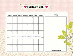 calendars with notes pretty free printable february 2017 calendar with handmade designs
