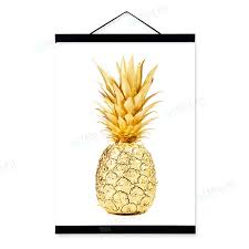 Modern Minimalist Life Quotes Gold Pineapple Framed Scroll Art