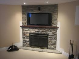 faux stacked stone fireplace