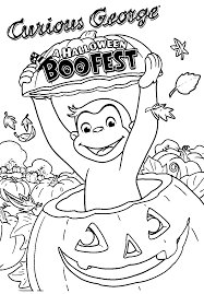 Small Picture Curious George A Halloween Boofest Coloring Page Wecoloringpage
