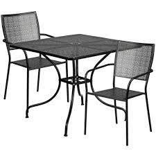 35 5 square black indoor outdoor steel patio table set with 2 square back