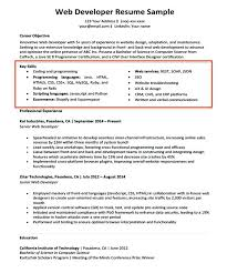 Experience Section Of Resume Key Skills Section Of A Web Developer