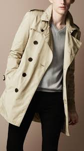 burberry brit men overdyed cotton trench coat
