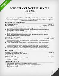 Resume Templates Food Service