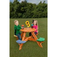 kids multicolor round wooden picnic table with 4 seats
