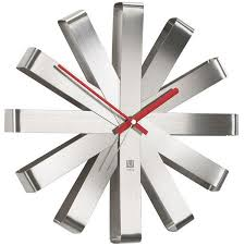 large modern  designer wall clocks  red candy