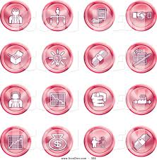 Redcoin Chart Clip Art Of A Collection Of Red Coin Shaped Business Icons
