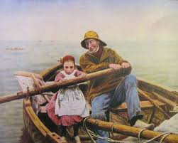 print of emile renouf s painting un coup de main the helping hand the original is oil on canvas 60 by 89 inches signed and dated