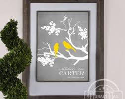 yellow and gray wall art personalized wedding gift love birds family tree branch anniversary gift family tree print personalized gift on personalized love birds wall art with love birds in an orange tree wedding anniversary gift family