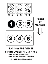 v vin e firing order ricks auto repair advice ricks here s the engine layout and firing order for 3 4 liter v 6 vin
