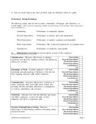 Supervisor Performance Appraisal Sample