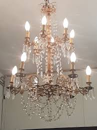 large 12 light crystal chandelier with frame in bronze and wood france ca