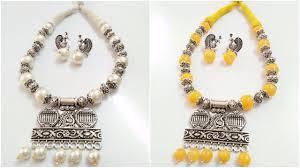 Designing Jewelry With Glass Beads New Stylish Glass Beads With White Metal Beads Set Jewelry Design