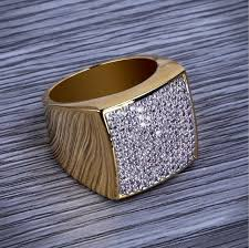 2018 high quality trendy jewelry whole hip hop rock iced out ring gold color plated micro