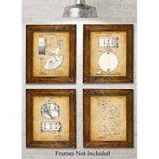 original drums patent art prints set of four photos 8x10 unframed makes