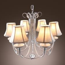 lovely crystal kid s room chandelier with 6 fabric shades and hanging crystal ball