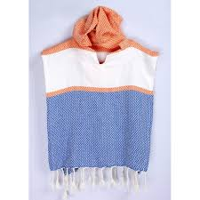 towel for kids. Wavy Patterned Kids Poncho Towel Tricolor (150.00 G / 5.29 Oz) For