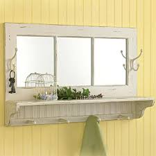 antique ivory wall shelf with mirror