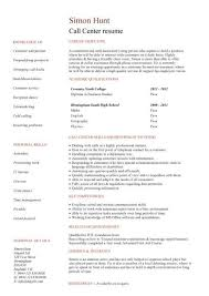 Student resume written for a call center vacancy