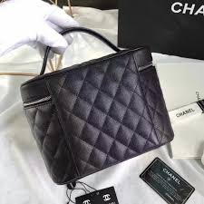 replica chanel grained calfskin um vanity case pouch cosmetic bag black 2016