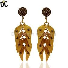 high quality jewelry 22k yellow gold plated brass white cubic zirconia fashion chandelier earrings statement fashion