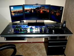 Layer Custom Computer Desk Big Glasses Fanasrij Rigs Pc Gaming Table Chair  Black CPU Smartphone White Wallpaper Furniture