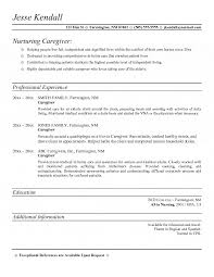 resume samples for caregiver