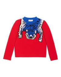 gucci kids. wool tiger crewneck sweater, red, size 4-12 gucci kids