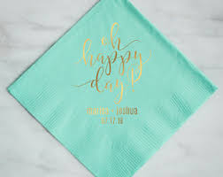 custom personalized napkins. oh happy day napkins printed party personalized custom cocktail l
