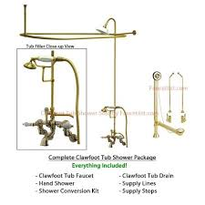 get ations polished brass faucet clawfoot tub shower kit with enclosure curtain rod 459t2cts