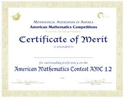 Merit Certificate Sample