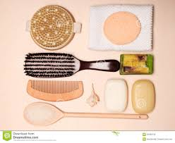 Wooden Bathroom Accessories Set Set For Care Of Skin Body Bath Accessories Stock Photo Image