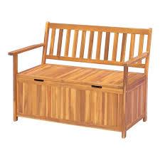 teak double seat wooden storage bench