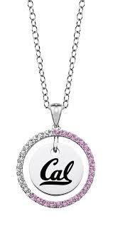 california berkeley golden bears sterling silver and pink cz necklace california berkeley golden bears jewelry