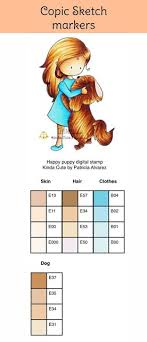 Copic Marker Color Chart For Happy Puppy Digital Stamp