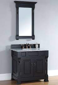 36 Inch Antique Black Bathroom Vanity Carrera White Marble Top Black Vanity Bathroom Black Bathroom Bathroom Vanity Remodel