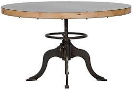 49 round dining table adjule height crank industrial metal base wood top
