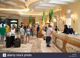 check in and out at the lobby reception the bellagio hotel las vegas usa