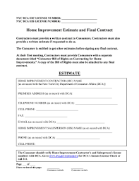 Fillable Online Nyc Home Improvement Model Estimate Form