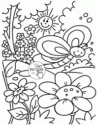 Nice Spring Coloring Page For Kids Seasons Coloring Pages