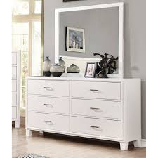 dresser with mirror.  Mirror Furniture Of America Bevan 6 Drawer Dresser With Mirror White   IDF7068WHDM Intended With