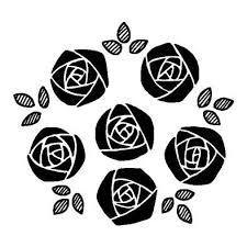 バラ8バラ薔薇花無料白黒イラスト素材 ポスカアート 薔薇