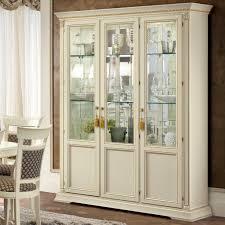 treviso ornate ivory ash wood 3 door glass display cabinet