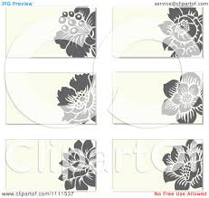 Clipart Gray Flowers And Beige Business Card Designs Royalty Free