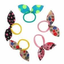 Boho Style Floral Printed Ribbon Bow Hair Scrunchies Elastic Hair ...