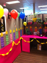 just as the title implies this cube was transformed into a gigantic birthday cake more office decorations birthday office decorations