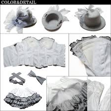 コスプレ衣装ハット付フランス人形コスチューム 白グレー